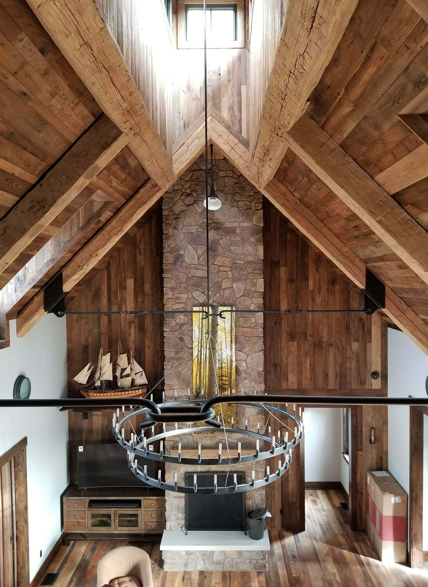 Reclaimed wood vaulted ceiling