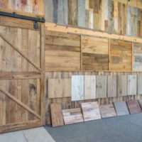 Reclaimed wood samples in showroom