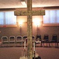Large reclaimed wood cross in a church
