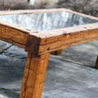 Chestnut Coffee Table with Glass Top