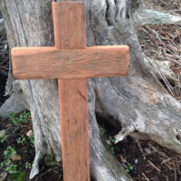 Reclaimed wood cross leaning against a tree