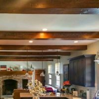 Reclaimed wood ceiling beams