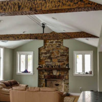 Large ceiling beams with dark finish