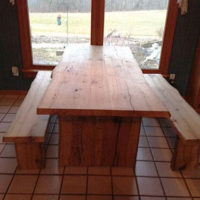 White oak live edge table and benches