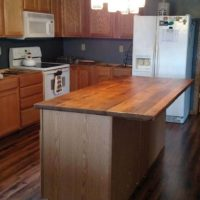 Reclaimed white oak kitchen island