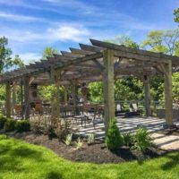 Reclaimed wood pergola